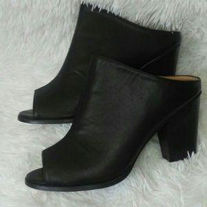 Size 10 black peep toe mules
